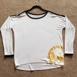 Michael Kors Woman's L White With Gold Logo Tee